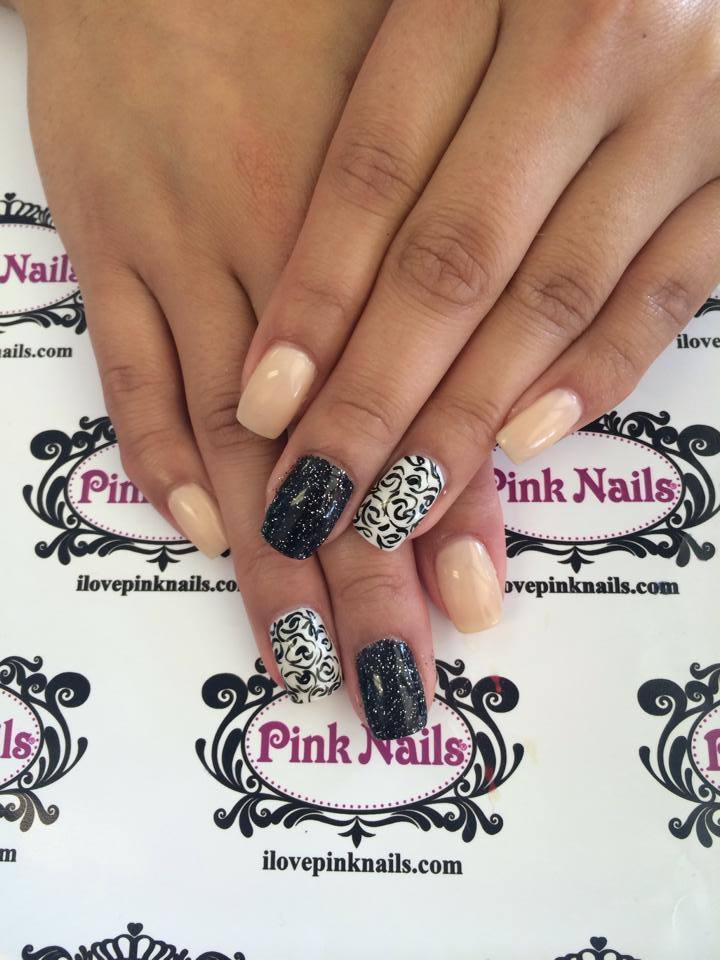 Black White And Beige Nails